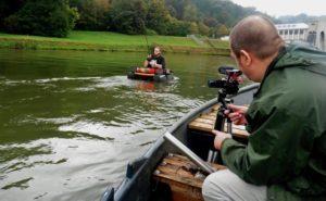 Beim Videodreh mit dem Anglerboard