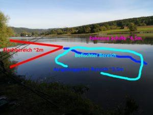 Ein optimaler Spot. Ufernahes Kraut erschwert allerdings die Drillendphase
